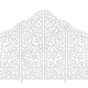 Ажурная белая ширма в аренду на свадьбу и фото сессию с доставкой в Москве, оформляется цветами, тканью, электро гирляндами и шарами.