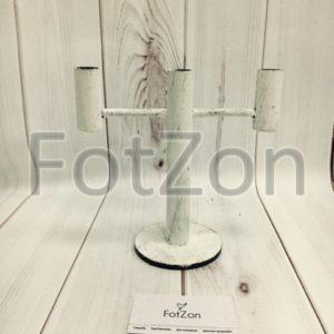 Канделябр белый на 3 свечи в стиле шебби шик