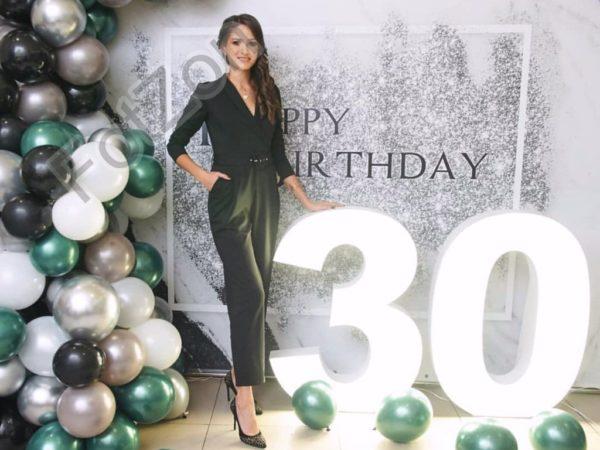 Фотозона с шарами и цифрами под мрамор с блёстками на день рождения в аренду Москва